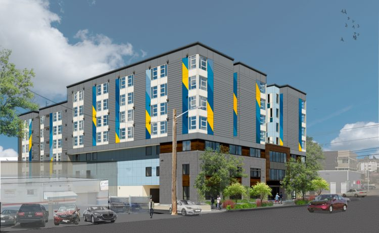 Architect's rendering of a gray multi-story building with windows with side panels in several shades of medium blue and yellow-gold.