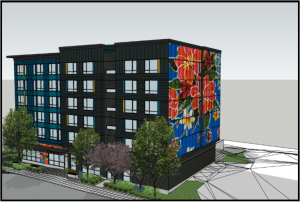 A rendering of a six-story apartment building with a colorful, floral mural on one end and landscaping in front.