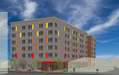 Architect's rendering showing six-story gray building with red, orange and yellow side panels at windows, plus a ground-floor lobby entrance