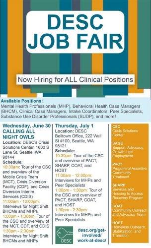 DESC Job Fair now hiring for all clinical positions, Wednesday, June 30, Calling all Night Owls, Thursday, July 1