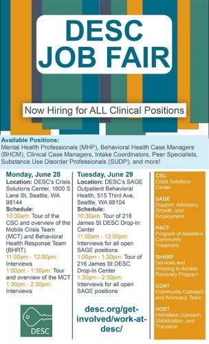 Job Fair hiring for all clinical programs
