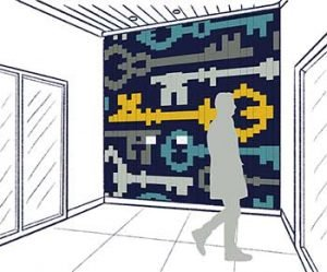 A mural of tiles with a navy background and light and dark gray, gold and teal blue keys.