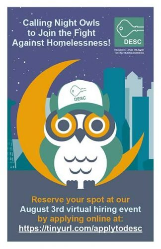 Calling Night Owls to Join the Fight Against Homelessness! Reserve your spot at our Aug. 3 virtual hiring event by applying online at https://tinyurl.com/applytodesc