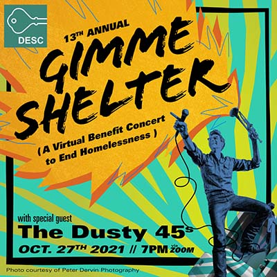 13th Annual Gimmer Shelter, a virtual benefit concert to end homelessness, with special guest The Dusty 45s, Oct. 27, 2021, 7 p.m. via Zoom. Photo courtesy of Peter Dervin Photography.
